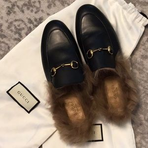 GUCCI PRINCETOWN MULES W/ REAL FUR 38.5